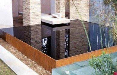 Dise o de jardines y patios 160 fotos e ideas modernas y for Fuentes decorativas de pared