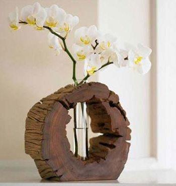 jarrones ms rsticos pueden ser elaborados con pedazos de tronco siendo ideales por lo tanto para interiores decorados en estilo rstico - Jarrones Decorados