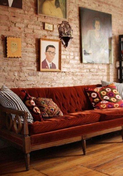 Interiores de casas r sticas 40 fotos de dise o y - Pintura color ladrillo ...