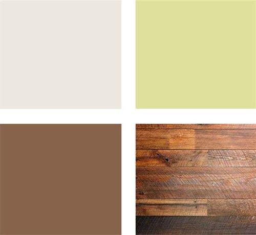paleta verde, marrón crema, madera