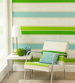 Paredes decoradas 90 fotos e ideas baratas y creativas - Habitaciones pintadas con rayas ...