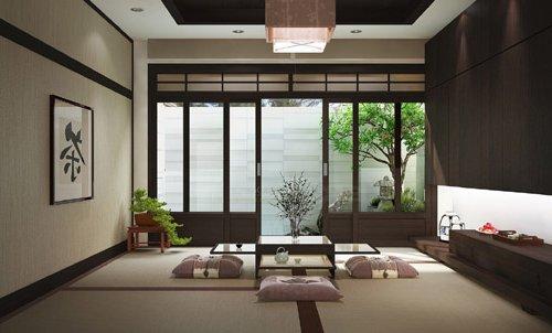 Salón estilo japonés con cojines en el suielo y ventanas japonesas, decorado en marrón y beige