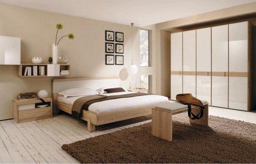 Dormitorio en marrón y beige
