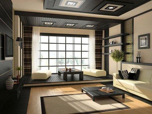 salón Zen estilo japonés, con ventanas amplias japonesas, decorado en marrón oscuro y color crema
