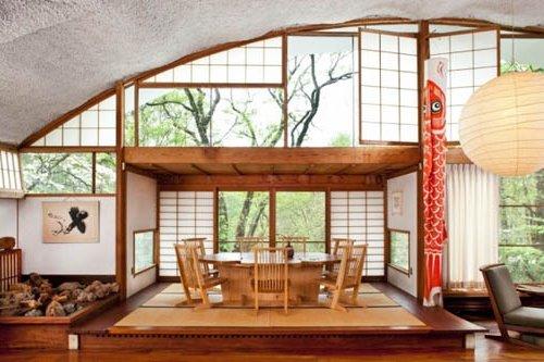Comedor con paneles al gadín en estilo japones y Zen