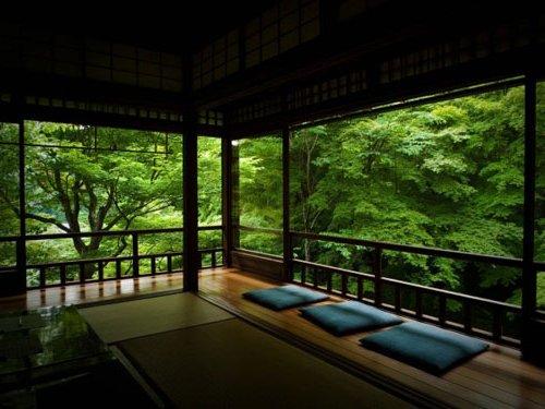 Sala con cojines con ventanas a hermoso jardín