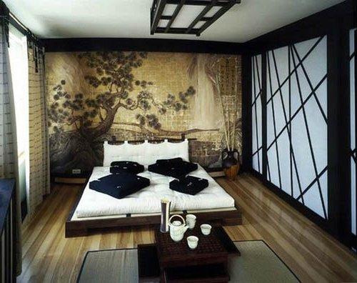 dormitorio con tapiz japones