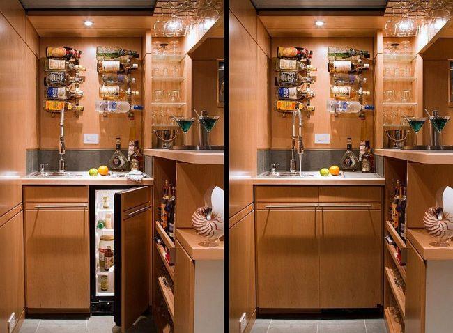 Mini bar en madera o metal 30 ideas para el hogar brico for Mueble bar moderno para casa