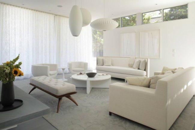 Salones blancos 40 fotos e ideas de decoraci n para - Salones con sofa negro ...
