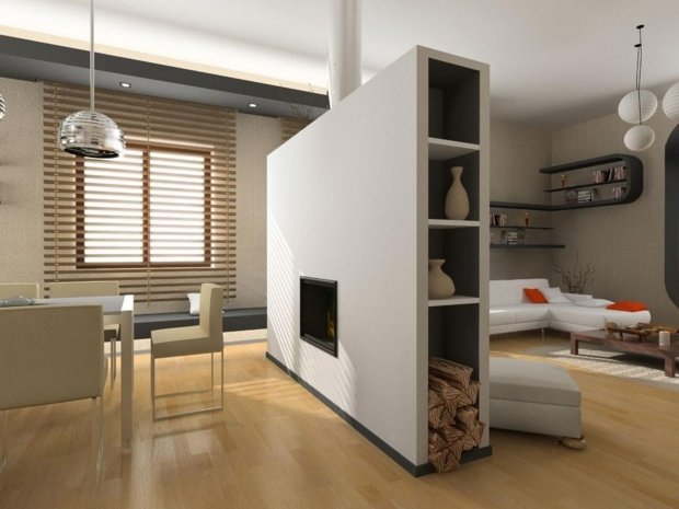 Separadores de ambientes 45 ideas modernas y bonitas - Estanterias separadoras de ambientes ...