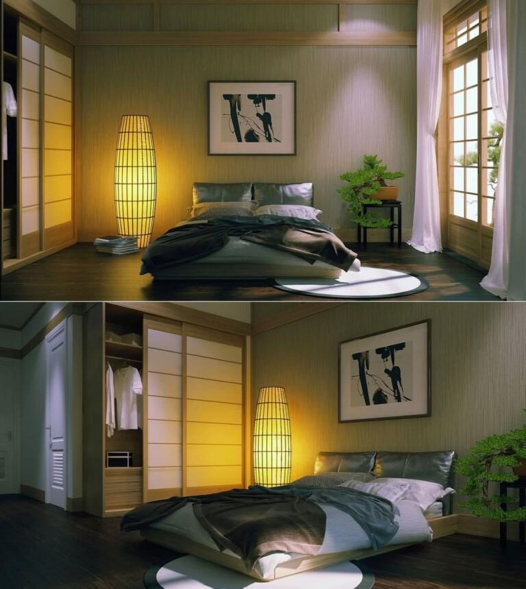 Dormitorios ZEN con armario de puertas corredizas japonesas, lámpara de papel y planta decorativa
