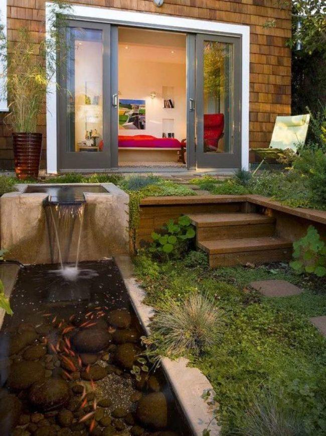 Dise o de jardines y patios 160 fotos e ideas modernas y - Fuente para patio ...