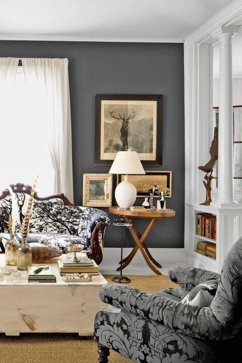 Colores para salas 2019 2018 50 fotos de combinaciones - Paredes grises y muebles marrones ...