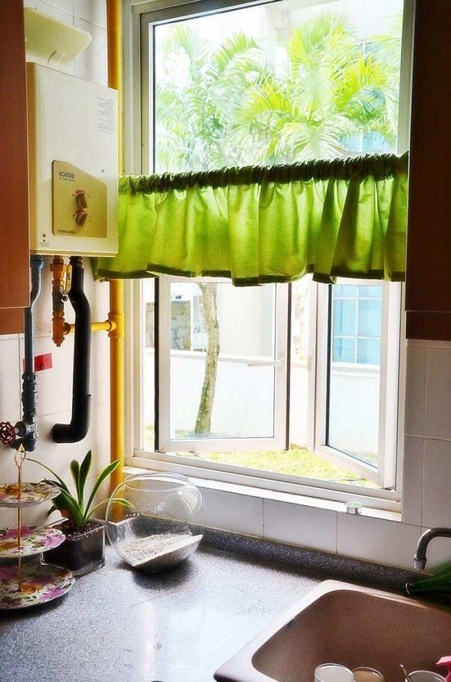 tambin se pueden utilizar el mismo tipo de tela y diseo para cortinas para las ventanas y para la parte inferior de las encimeras