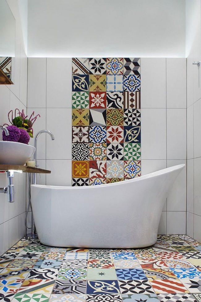 Ba os modernos 2019 de 130 fotos de tendencias y dise os - Combinaciones de azulejos para banos ...