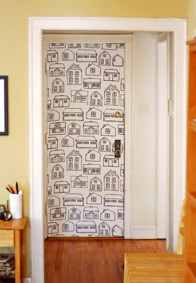 Puertas decoradas de 50 fotos y muchas ideas de decoraci n - Papel pintado para puertas ...