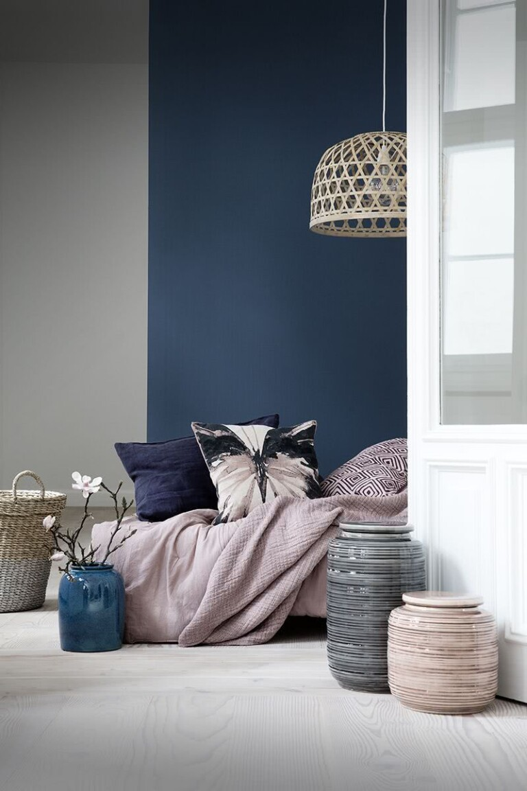 dormitorio paredes azul y gris