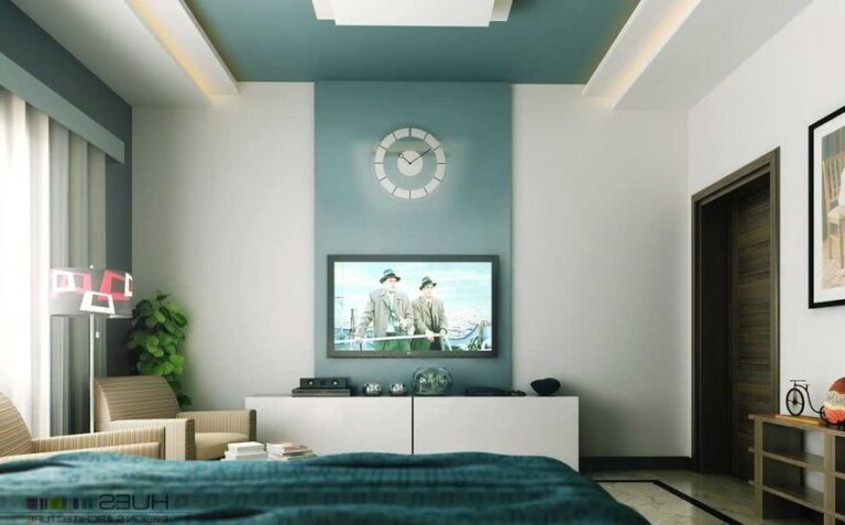 salón pared gris y verde
