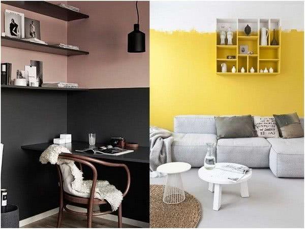 pared rosa y negro, amarilla y blanca