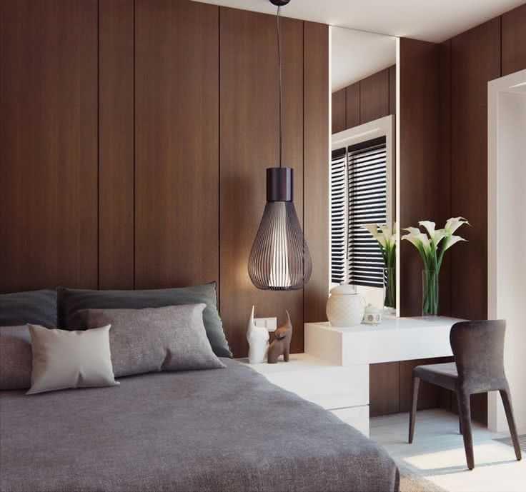 paredes de madera marrón muebles grises