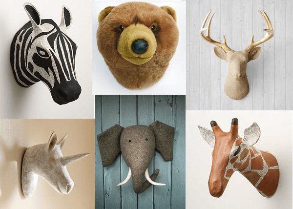 Decoraci n de paredes infantiles con cabezas de animales falsas nuestros hijos - Cabezas animales tela ...